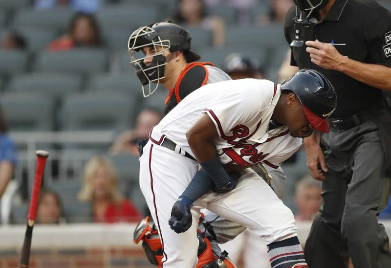 Benches clear twice after Braves rookie Acuna hit by Marlins' opening pitch