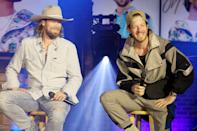 "<p>Florida George Line's Brian Kelley and Tylar Hubbard speak from Nashville on Thursday during their livestream event, ""Life Rolls On From the FGL House."" </p>"