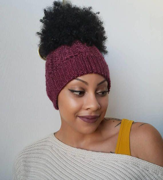 This <span>messy bun beanie with satin lining</span> is perfect for protective styles or updos when it's close to wash day.