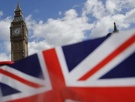 A union flag is seen near the Houses of Parliament in London