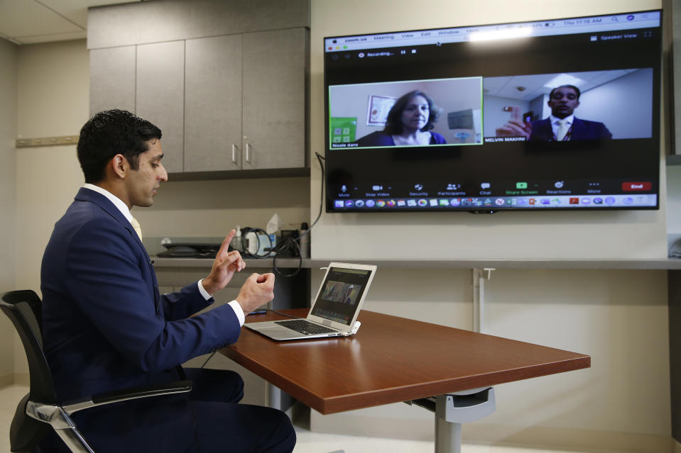 Through telehealth platforms, doctors can also help diagnose certain conditions, write prescriptions, and determine when an in-office appointment really is the best plan. (Jessica Rinaldi/The Boston Globe via Getty Images)