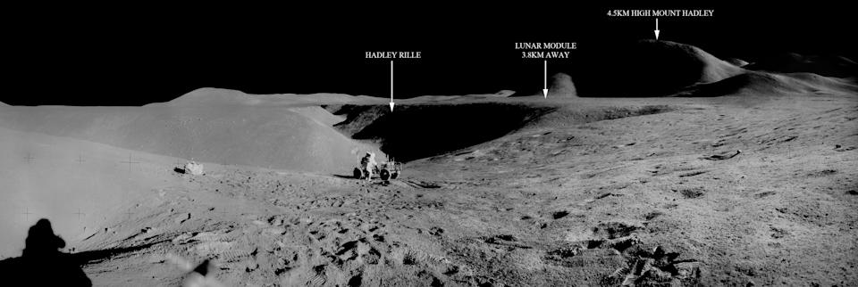 A remastered panorama of the LRV with annotated locations on the moon.