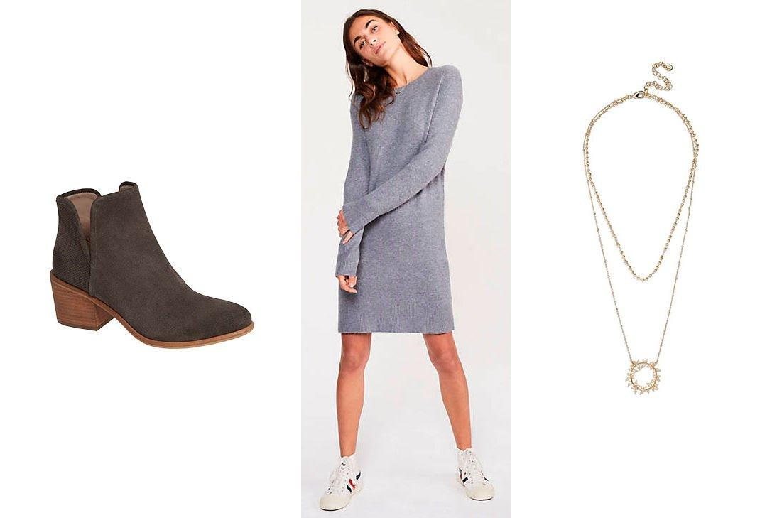 """<p>When you need to run errands on the weekend, a comfy dress and jean jacket is a put together look without much effort.</p> <p><strong>Dress: </strong>This grey sweater dress will keep you warm without being too bulky. The crew neck collar will fit perfectly under the jean jacket. <strong>Lou & Grey Sweater</strong>, $90; <a href=""""https://click.linksynergy.com/deeplink?id=93xLBvPhAeE&mid=42154&murl=https%3A%2F%2Fwww.louandgrey.com%2Fsignaturesoft-plush-sweatshirt-dress%2F510570%3FselectedColor%3D7903&u1=SL%2CRX_1901_JeanJacket_CasualDress%2Crellis1271%2CSOU%2CIMA%2C567785%2C201910%2CI"""" target=""""_blank"""">louandgrey.com</a> </p> <p><strong>Boots: </strong>Charcoal suede booties are the perfect addition to the sweater dress. You can easily wear these into the warmer months. Find similar styles <a href=""""https://click.linksynergy.com/deeplink?id=93xLBvPhAeE&mid=1237&murl=https%3A%2F%2Fshop.nordstrom.com%2Fs%2Fkensie-granger-bootie-women%2F5429313&u1=SL%2CRX_1901_JeanJacket_CasualDress%2Crellis1271%2CSOU%2CIMA%2C567785%2C201910%2CI"""" target=""""_blank"""">here</a>, <a href=""""https://click.linksynergy.com/deeplink?id=93xLBvPhAeE&mid=1237&murl=https%3A%2F%2Fshop.nordstrom.com%2Fs%2Flucky-brand-basel-bootie-women%2F5055773&u1=SL%2CRX_1901_JeanJacket_CasualDress%2Crellis1271%2CSOU%2CIMA%2C567785%2C201910%2CI"""" target=""""_blank"""">here</a>, and <a href=""""https://click.linksynergy.com/deeplink?id=93xLBvPhAeE&mid=1237&murl=https%3A%2F%2Fshop.nordstrom.com%2Fs%2Flucky-brand-fausst-bootie-women%2F4904410&u1=SL%2CRX_1901_JeanJacket_CasualDress%2Crellis1271%2CSOU%2CIMA%2C567785%2C201910%2CI"""" target=""""_blank"""">here</a>. </p> <p><strong>Accessory: </strong>Finish off the look with a drop pendant necklace. You'll look put together and polished. Find a similar one <a href=""""https://click.linksynergy.com/deeplink?id=93xLBvPhAeE&mid=1237&murl=https%3A%2F%2Fshop.nordstrom.com%2Fs%2Fbaublebar-musia-drusy-layered-y-necklace%2F5295195&u1=SL%2CRX_1901_JeanJacket_CasualDress%2Crellis1271%2CSOU%2CIMA%2C567785%2C"""