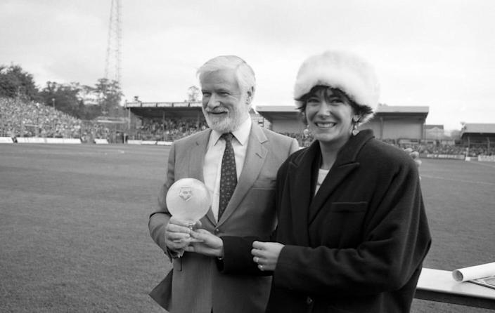"""<div class=""""inline-image__caption""""> <p>Chelsea Chairman Ken Bates with Ghislaine Maxwell, daughter of Oxford United's owner, Robert Maxwell before the First Division match between Oxford United and Chelsea at Manor Ground on October 19, 1985 in Oxford,England. </p> </div> <div class=""""inline-image__credit""""> Hugh Hastings/Chelsea FC via Getty </div>"""