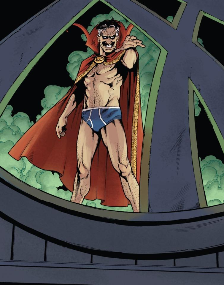 A panel shows Oberoth'm'gozz impersonating Dr. Strange in only y fronts and a cape