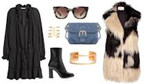 <p>Bring that black ruffled dress that you've been wearing all summer back into the rotation by layering with a few key fall pieces. (A shearling or faux fur vest is a good start.) Throw on a good black bootie, pile on the jewelry and you're ready for a fun night out on the town. </p>