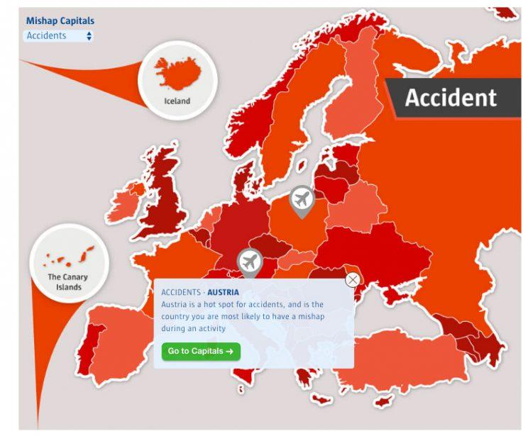 Countries where you are more likely to have an accident (Source: comparethemarket.com)