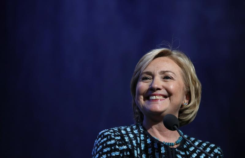 Hillary Clinton introduces Obama and Clinton at the Clinton Global Initiative in New York