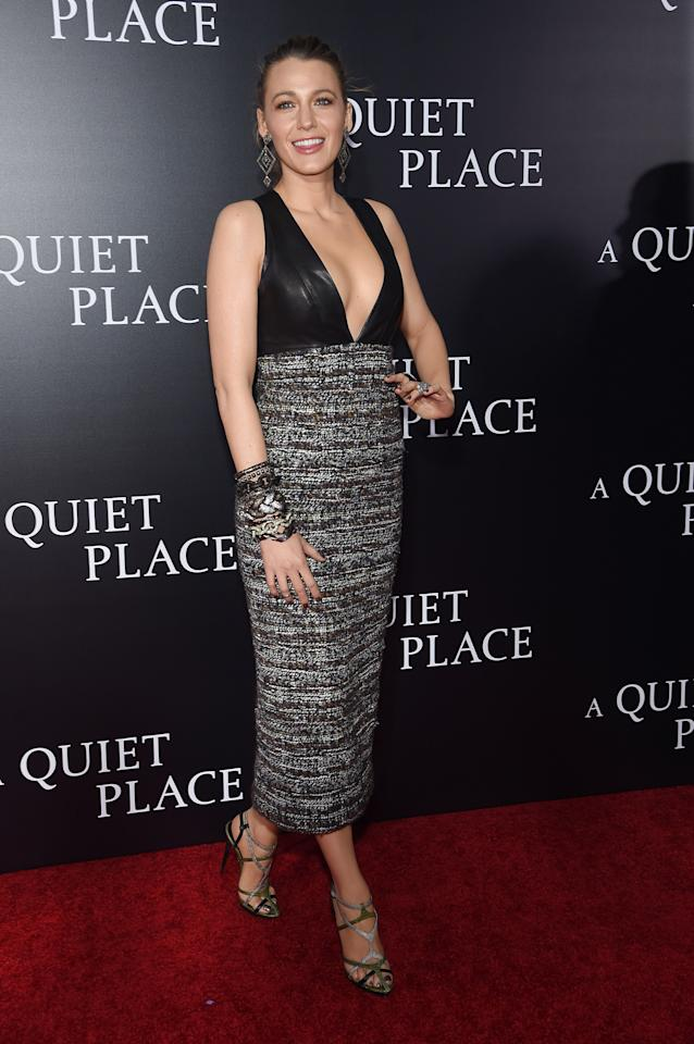 <p>At the premiere of 'A Quiet Place', Blake mixed textures in a tweed Chanel dress, which came with a leather top, and Balenciaga heels. <br /><em>[Photo: Getty]</em> </p>