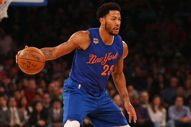 Derrick Rose, pictured in 2016, averaged 18 points, 3.8 rebounds and 4.4 assists on 47 percent shooting over 64 games for the New York Knicks last season (AFP Photo/Mike Stobe)