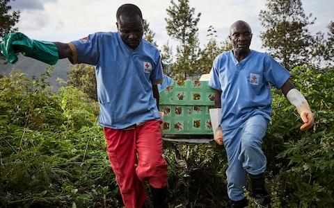 Health workers carry the coffin of an Ebola victim in Butembo, the town at the epicentre of the crisis - Credit: HUGH KINSELLA CUNNINGHAM/EPA-EFE/REX