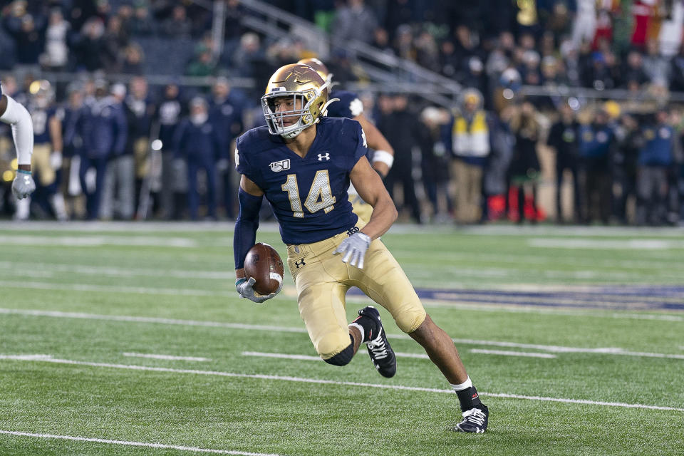 Notre Dame safety Kyle Hamilton intercepted four passes as a freshman but only one in 2020. (Photo by Robin Alam/Icon Sportswire via Getty Images)