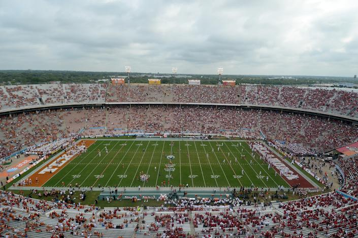 DALLAS, TX - OCTOBER 12: A general view of the Cotton Bowl during the Red River Shootout between the Oklahoma Sooners and the Texas Longhorns on October 12, 2013 at The Cotton Bowl in Dallas, Texas. (Photo by Jackson Laizure/Getty Images)