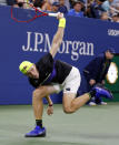 Denis Shapovalov, of Canada, returns a shot to Gael Monfils, of France, during the third round of the U.S. Open tennis tournament, Saturday, Aug. 31, 2019, in New York. (AP Photo/Jason DeCrow)