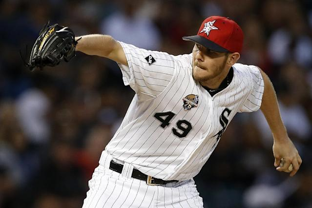Chicago White Sox starting pitcher Chris Sale delivers against the Seattle Mariners during the ninth inning of a baseball game on Friday, July 4, 2014, in Chicago. (AP Photo/Andrew A. Nelles)