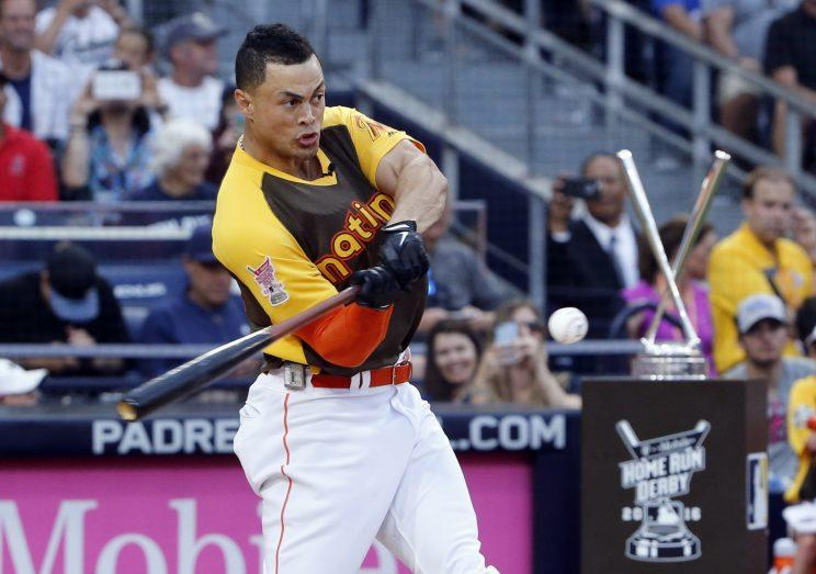 Giancarlo Stanton is looking to repeat in the 2017 Home Run Derby. (AP Photo)