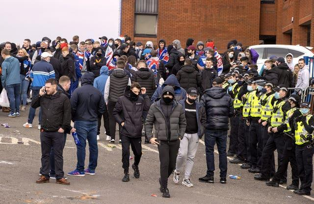 Rangers fans and police presence outside the ground