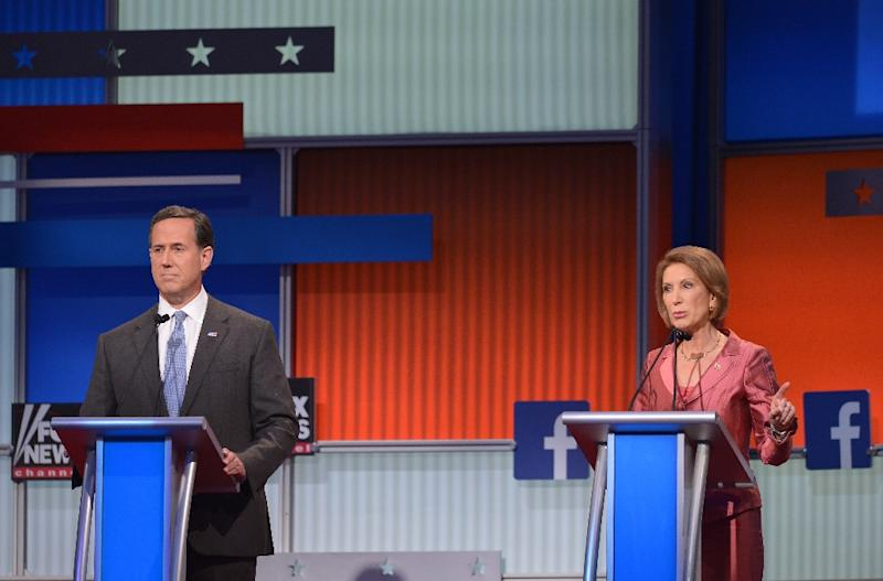 Republican presidential hopeful Carly Fiorina got a dramatic bump in exposure after a star turn in the primary debate on August 6, 2015 in Cleveland, Ohio