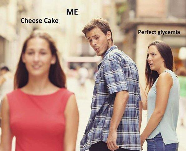 stock photo of man checking out woman, cheesecake, me, perfect glycemia