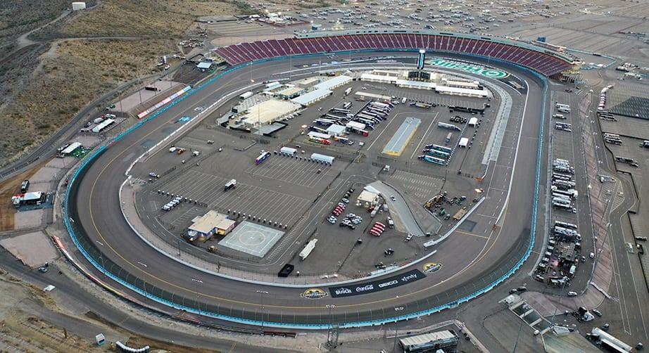 AVONDALE, ARIZONA - NOVEMBER 04: An aerial view of the track prior to the NASCAR Cup Series Championship at Phoenix Raceway on November 04, 2020 in Avondale, Arizona. (Photo by Chris Graythen/Getty Images)   Getty Images