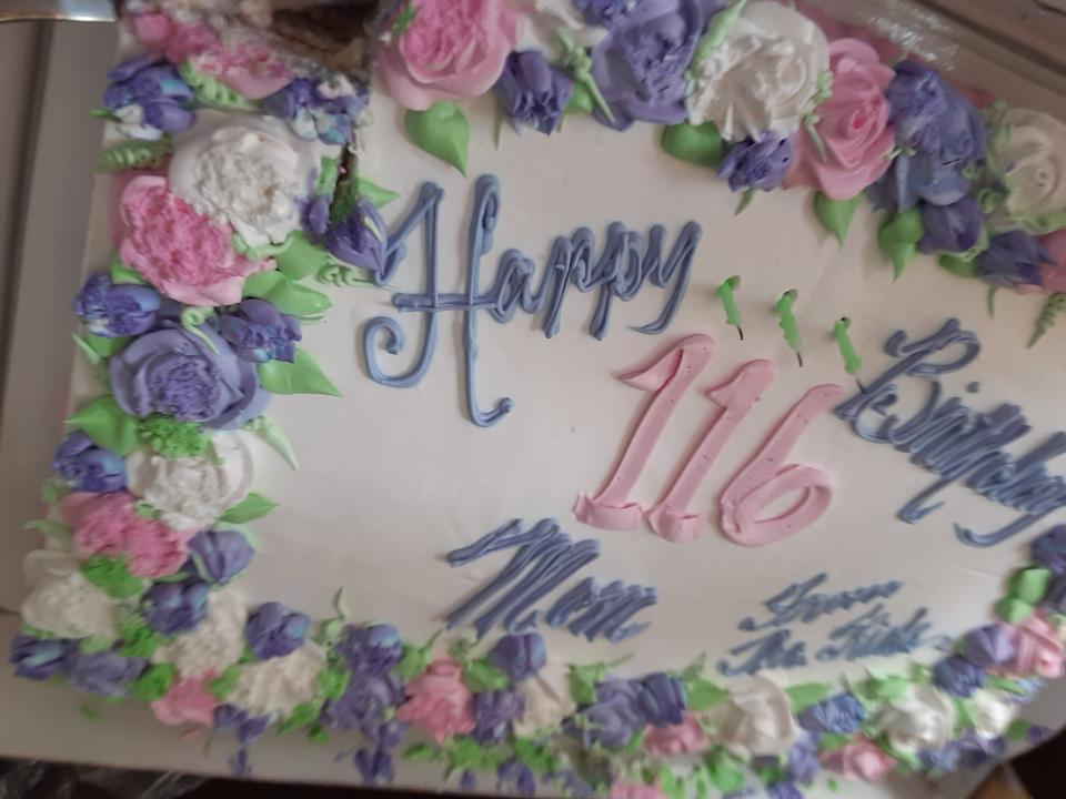 The more tradition birthday cake, for Hester Ford. (Photo courtesy of Mary Hill)