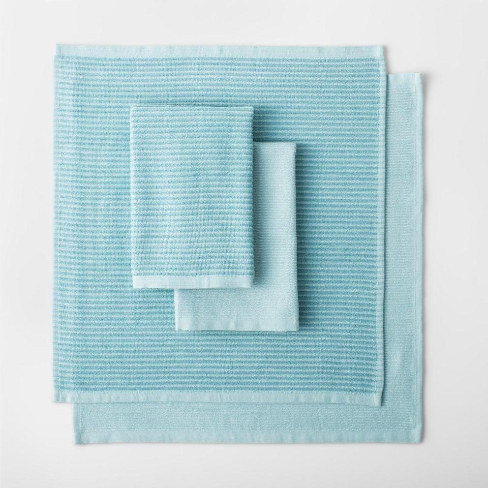 """<p><a class=""""link rapid-noclick-resp"""" href=""""https://www.target.com/p/striped-barmop-towels-4pk-made-by-design-153/-/A-53308545"""" rel=""""nofollow noopener"""" target=""""_blank"""" data-ylk=""""slk:BUY NOW"""">BUY NOW</a> <strong><em>$4 for 4, target.com</em></strong><br></p><p><a href=""""https://www.delish.com/food-news/g21100624/targets-new-homeware-line-made-by-design/"""" rel=""""nofollow noopener"""" target=""""_blank"""" data-ylk=""""slk:Target's new Made by Design line"""" class=""""link rapid-noclick-resp"""">Target's new Made by Design line</a> is kind of utilitarian, but people are still flocking to the the section — specifically to buy these extra absorbent kitchen towels.</p>"""