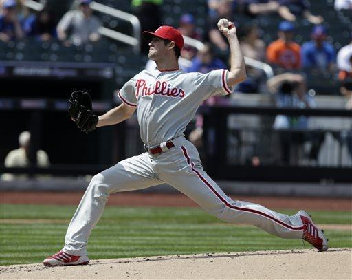 Philadelphia Phillies' Cole Hamels pitches during the first inning of the baseball game against the New York Mets at Citi Field Sunday, April 28, 2013, in New York. (AP Photo/Seth Wenig)