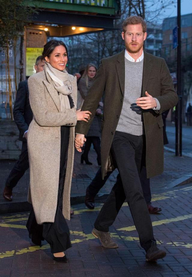<p>Meghan Markle wears Sarah Flint black suede pumps after visiting Reprezent 107.3FM on January 9, 2018 in London, England. (Photo by Dominic Lipinski – WPA Pool /Getty Images) </p>