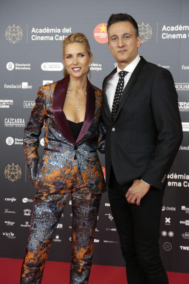 BARCELONA, SPAIN - JANUARY 19: (L-R) Judit Masco and Jose Maria Lari 'Mag Lari' pose during a photocall for the 12th Gaudi Awards 2020 held at Forum Theater on January 19, 2020 in Barcelona, Spain. (Photo by Miquel Benitez/WireImage)