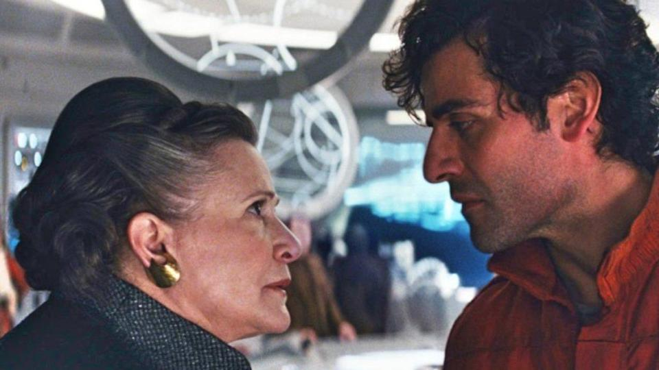 Oscar Isaac and Carrie Fisher in The Last Jedi