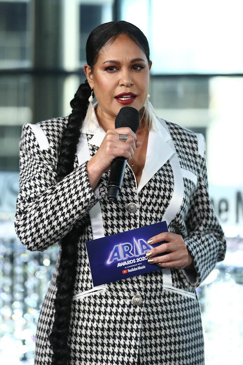 Christine Anu speaks during the Pre-Show ahead of the 2020 ARIA Awards at The Star on November 25, 2020 in Sydney, Australia. (Photo: Brendon Thorne via Getty Images)