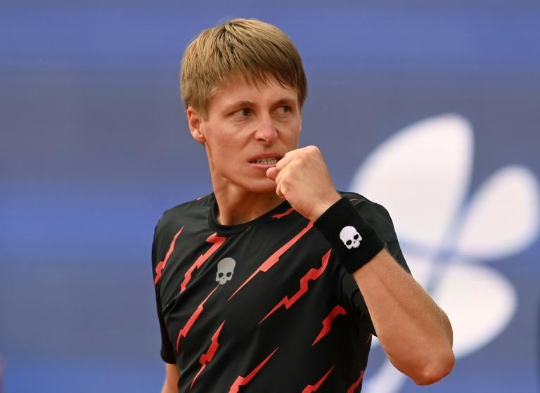 Belarus' Ilya Ivashka celebrates knocking top-seed Alexander Zverev out of the ATP tournament in Munich
