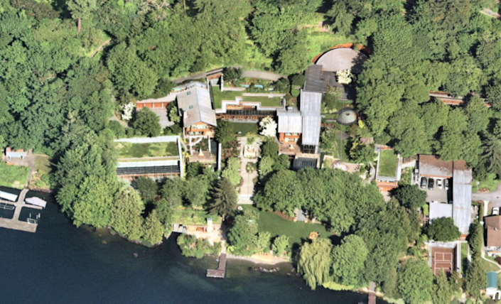 An aerial view of the 66,000-square-foot mansion that is valued at more than $130 million.