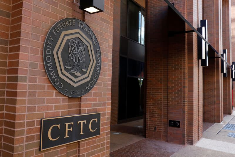 Signage is seen outside of CFTC in Washington, D.C.