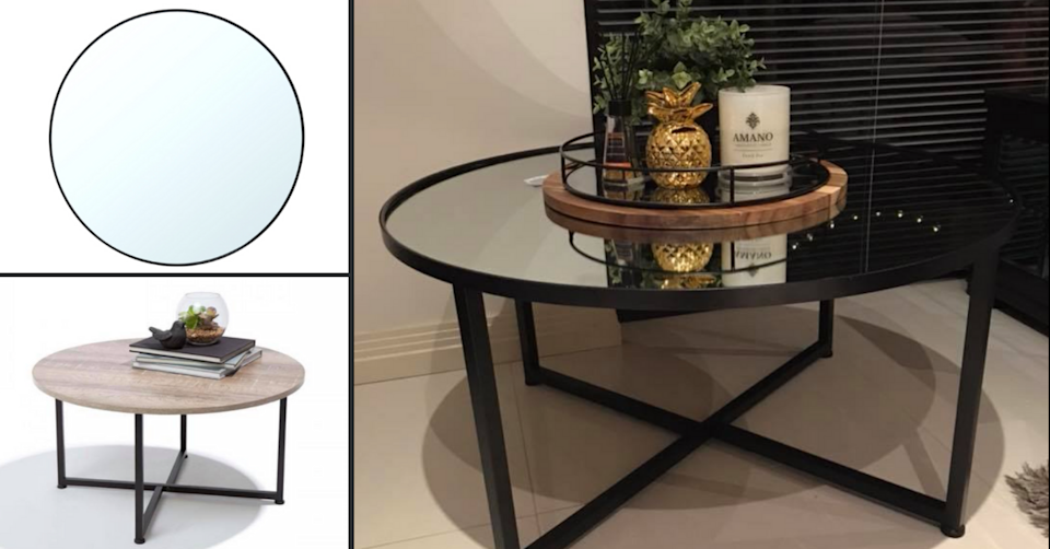 One young mum hacked the round mirror and a Kmart coffee table for a more trend-led look. Photo: Facebook