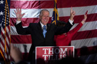 Sen. Thom Tillis, R-N.C., celebrates at a election night rally Tuesday, Nov. 3, 2020, in Mooresville, N.C. (AP Photo/Chris Carlson)
