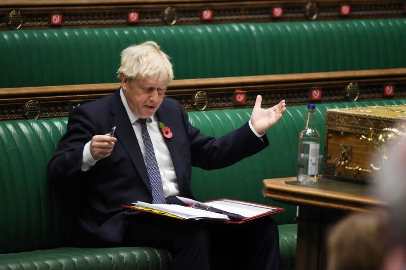 FILE PHOTO: The weekly question-time debate at the House of Commons in London
