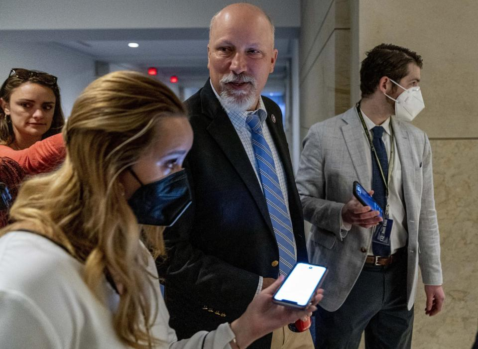 Rep. Chip Roy, R-Texas, center, arrives as the House Republican Conference meets to elect a new chairman to replace Rep. Liz Cheney, R-Wyo., who was ousted from the GOP leadership for her criticism of former President Donald Trump, at the Capitol in Washington, Friday, May 14, 2021. (AP Photo/Andrew Harnik)