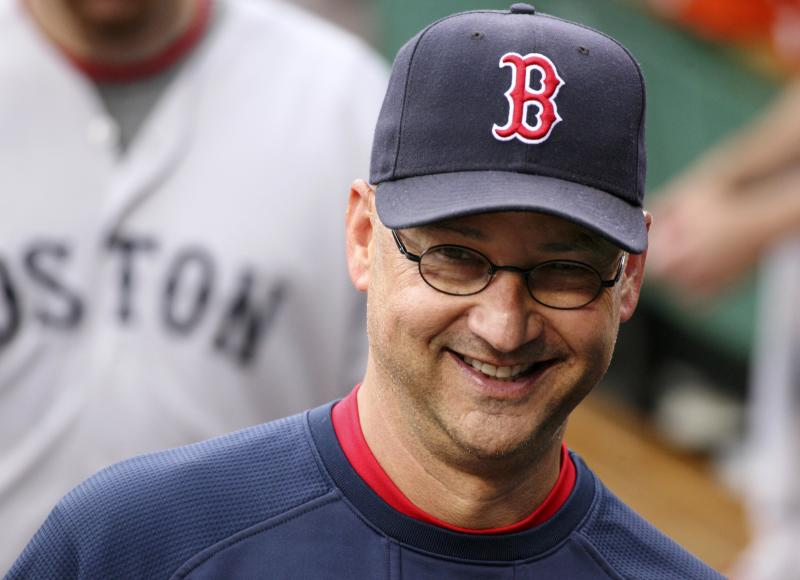 FILE - In this June 24, 2011, file photo, Boston Red Sox manager Terry Francona walks in the dugout before an interleague baseball game against the Pittsburgh Pirates in Pittsburgh. A person familiar with the decision says the Cleveland Indians on Saturday, Oct. 6, 2012, have chosen Francona to be their next manager and are working with him on a contract. (AP Photo/Gene J. Puskar, File)