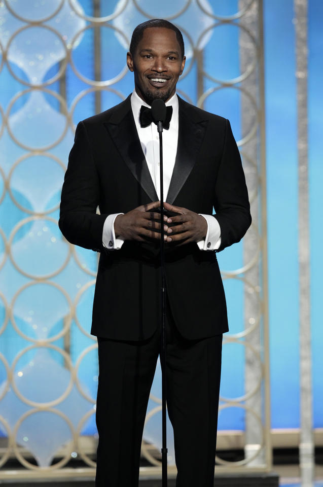 Presenter Jamie Foxx on stage during the 70th Annual Golden Globe Awards held at the Beverly Hilton Hotel on January 13, 2013.