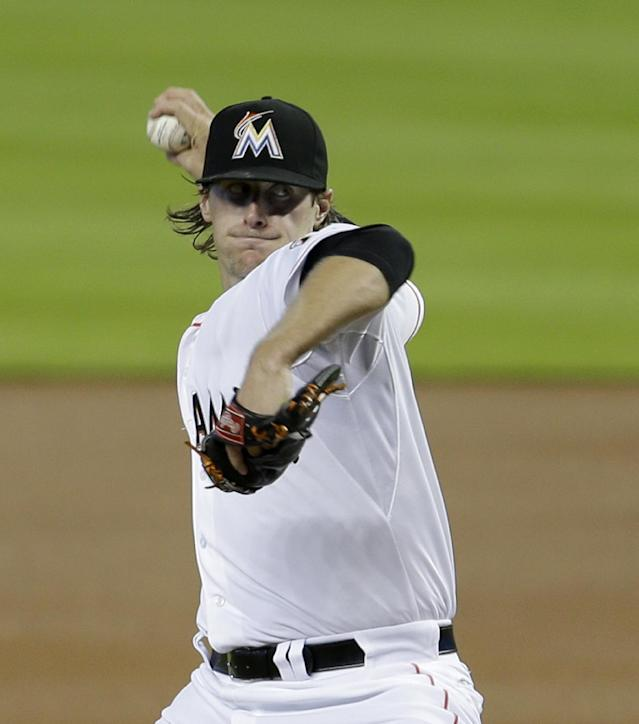 Miami Marlins' Tom Koehler pitches against the New York Mets in the first inning of a baseball game in Miami, Wednesday, May 7, 2014. (AP Photo/Alan Diaz)