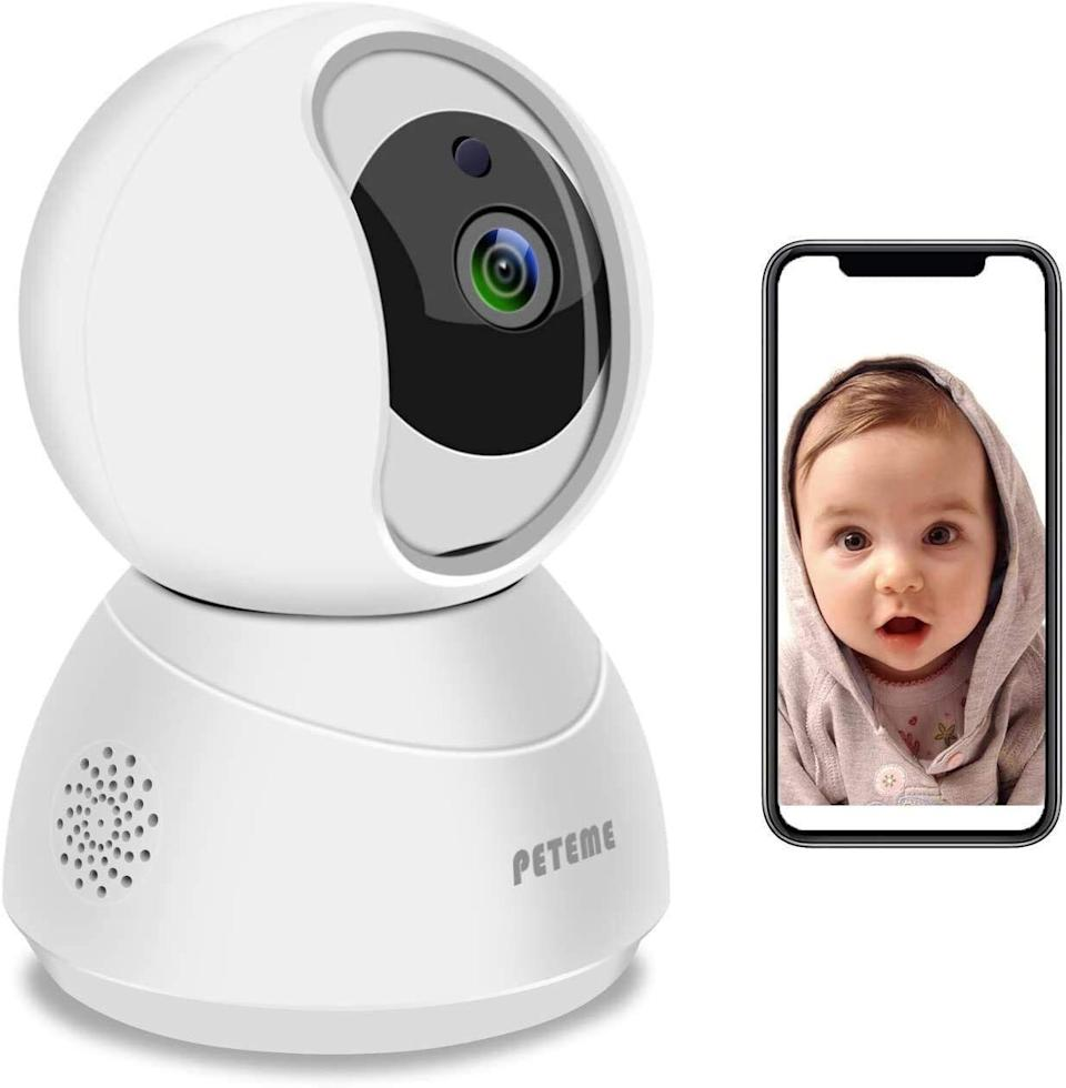 """Monitor your little one with<strong></strong>motion detection, a 360-degree viewing angle and two-way audio that'll let you listen in when you're not in the same room.<br /><br /><strong>Promising review:</strong>""""I wanted a monitor for my 3-year-old son that connects to my phone and this one is amazing. I can choose to alert for noise, motion, both or neither as notifications on my phone. I also like that I can connect from multiple phones and will probable use my iPad for connection, as well.<strong>It has two-way audio that doesn't sound weird (others sound just different enough that they scare him) and it doesn't drain my battery like I was expecting.</strong>I will probably purchase more for other rooms since the app can control multiple cameras."""" —<a href=""""https://amzn.to/3tFBfeb"""" target=""""_blank"""" rel=""""nofollow noopener noreferrer"""" data-skimlinks-tracking=""""5189597"""" data-vars-affiliate=""""Amazon"""" data-vars-href=""""https://www.amazon.com/gp/customer-reviews/R3EEA7KXG7RMEM?tag=bfheather-20&ascsubtag=5189597%2C30%2C44%2Cmobile_web%2C0%2C0%2C160761"""" data-vars-keywords=""""cleaning,fast fashion"""" data-vars-link-id=""""160761"""" data-vars-price="""""""" data-vars-product-id=""""15996796"""" data-vars-retailers=""""Amazon"""">Whitney Ray<br /><br /></a><a href=""""https://amzn.to/3odfyRN"""" target=""""_blank"""" rel=""""noopener noreferrer""""><strong>Get it from Amazon for$29.99.</strong></a>"""