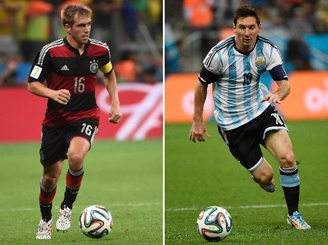 A combination of file photos shows Germany's defender and captain Philipp Lahm (L) in Belo Horizonte on July 8, 2014 and Argentina's forward and captain Lionel Messi in Sao Paulo on July 9, 2014 (AFP Photo/Pedro Ugarte, Patrik Stollarz)