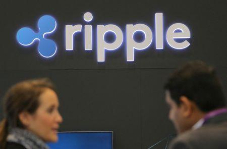 The logo of blockchain company Ripple is seen at the SIBOS banking and financial conference in Toronto, Ontario, Canada October 19, 2017. Picture taken October 19, 2017. REUTERS/Chris Helgren