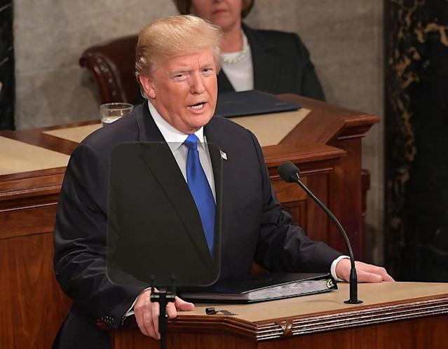 <p>Trump gives his first State of the Union address on Jan. 30. (Photo: Mandel Ngan/AFP/Getty Images) </p>