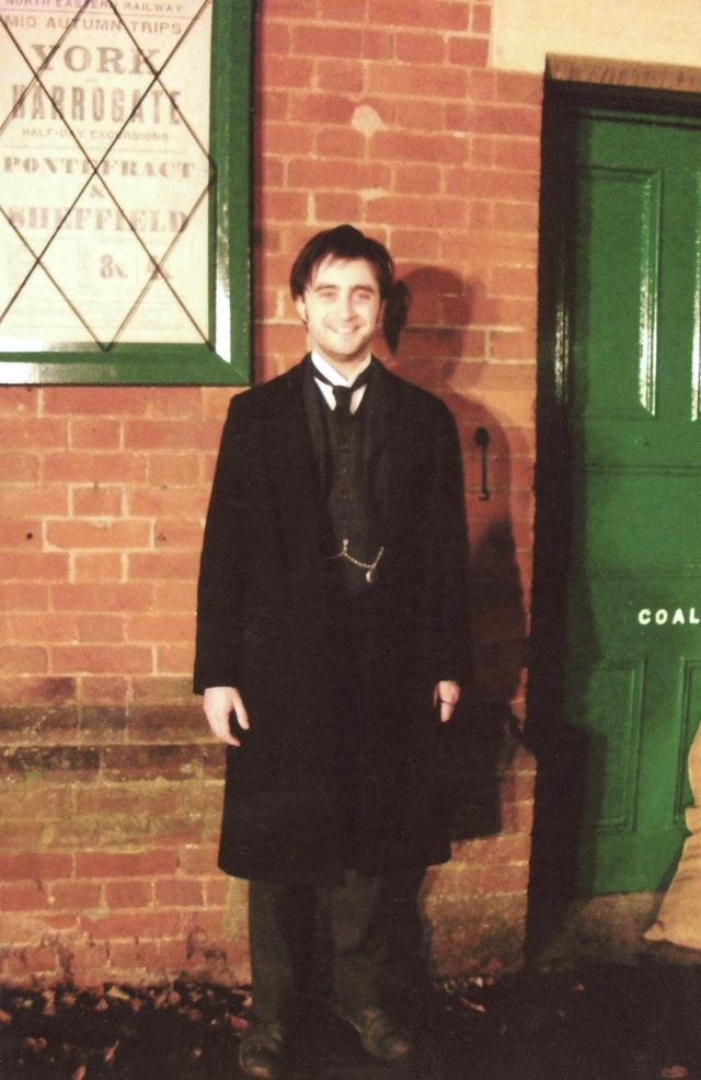 Daniel Radcliffe during filming for The Woman In Black which involved the railway