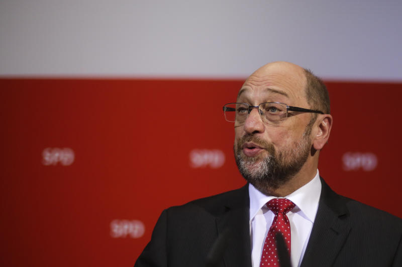 Social Democratic Party, SPD, chairman and top candidate in the upcoming general elections Martin Schulz gives a statement after first projection of the state election in German state Saarland announced at the party's headquarters in Berlin, Sunday, March 26, 2017. Chancellor Angela Merkel's conservative party has emerged easily as the strongest party from an election in Germany's western Saarland state — an unexpectedly strong performance and a disappointment for her center-left rivals. (AP Photo/Markus Schreiber)