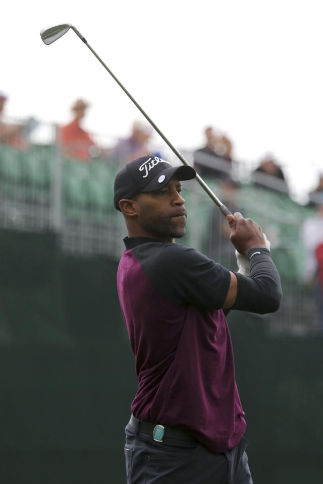 Sacramento Kings' Vince Carter tees off on the first hole at the American Century Golf Championship, Friday, July 13, 2018, at the Edgewood Tahoe Golf Course in Stateline, Nev. (AP Photo/Lance Iversen)