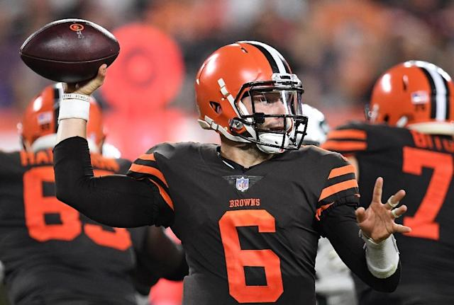 Rookie quarterback Baker Mayfield powered the Cleveland Browns to their first win in almost two years with a come-from-behind 21-17 victory over the New York Jets. (AFP Photo/Jason Miller)