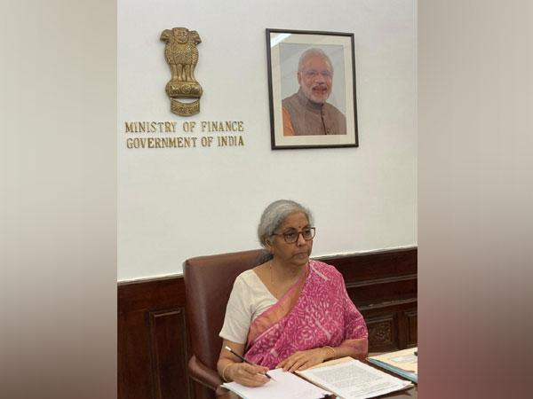 Nirmala Sitharaman holding virtual interaction with the co-chairs of G20 HLIP on Financing the Global Commons for Pandemic Preparedness and Response, in Delhi on Monday.